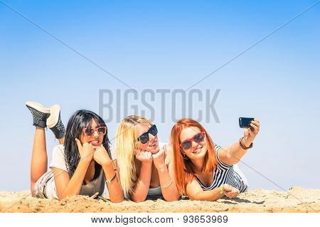 Group Of Girlfriends Taking A Selfie At The Beach - Concept Of Friendship And Fun In The Summer