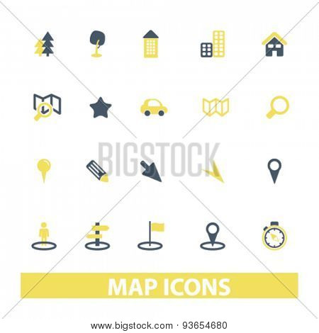 map, navigation, route icons, signs, illustrations set, vector