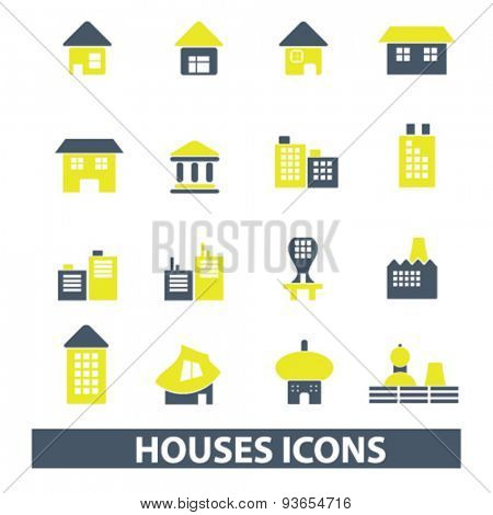 houses, buildings, real estate icons, signs, illustrations set, vector