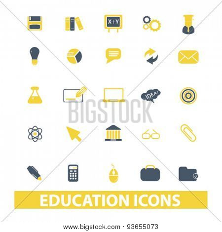 education, learning icons, signs, illustrations set, vector