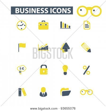 business, management icons, signs, illustrations set, vector