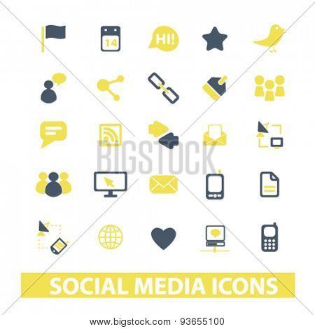 social media, network, blog icons, signs, illustrations set, vector