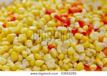 Closeup Of Tinned Whole Kernel Corn And Carrots, It Could Be Used As Background