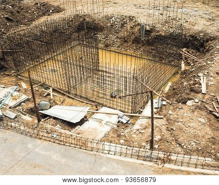 reinforce iron cage in a construction site.
