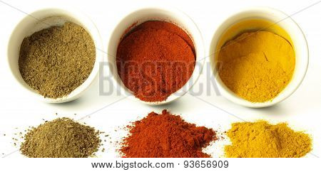 Indian Spices On Isolated Background