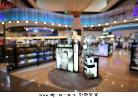 Blurry Background Of The Stores.