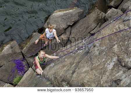 Pair of climbers starts an ascent