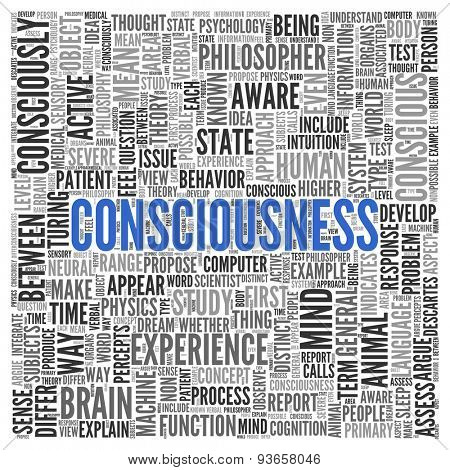 Close up CONSCIOUSNESS Text at the Center of Word Tag Cloud on White Background.