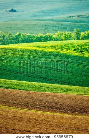 European rural background - Moravian rolling landscape, Moravia, Czech Republic