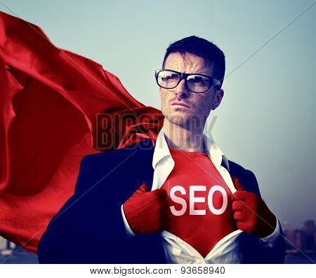 Strong Superhero Businessman SEO Concepts