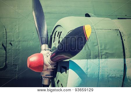 Propeller Of Plane Closeup In Retro Tones
