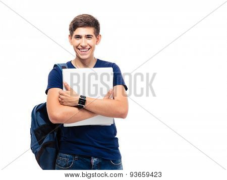 Smiling male student with backpack holding folders isolated on a white background. Looking at camera