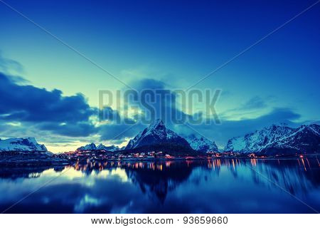 sunset  in Reine Village, Lofoten Islands, Norway