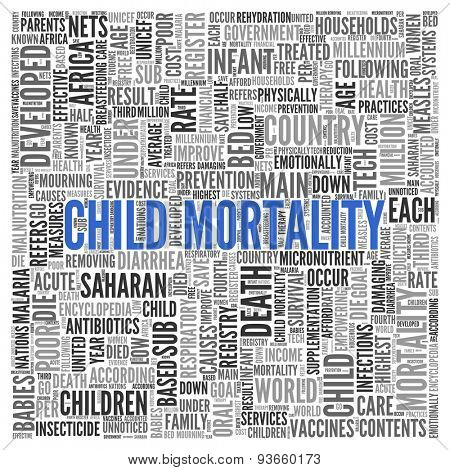 Close up CHILD MORTALITY Text at the Center of Word Tag Cloud on White Background.