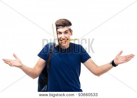 Funny young male student with book and pencil strapped to his head isolated on a white background