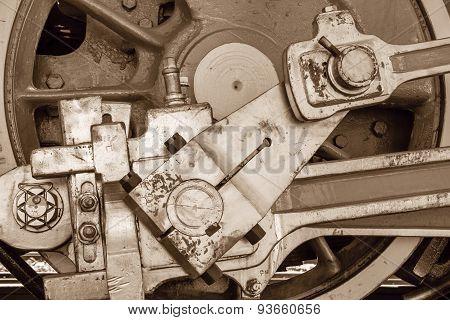Wheel Of Sepia Color Closeup Old Locomotive