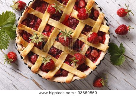 Strawberry Cake Close Up In Baking Dish, Horizontal Top View