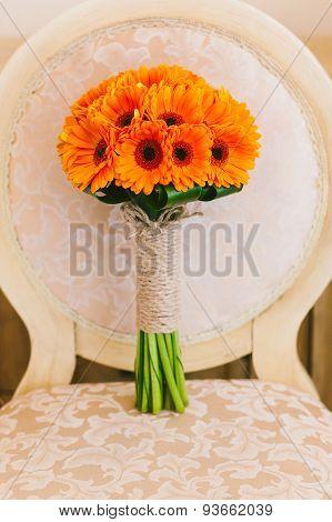 Beautiful Wedding Bouquet Of Orange Flowers