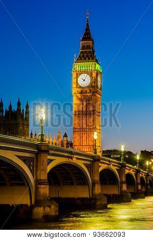 The Palace of Westminster at dusk, London