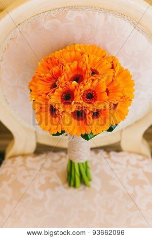 Beautiful Wedding Bouquet Of Orange Flowers