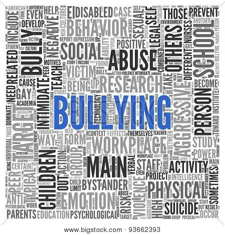 Close up BULLYING Text at the Center of Word Tag Cloud on White Background.