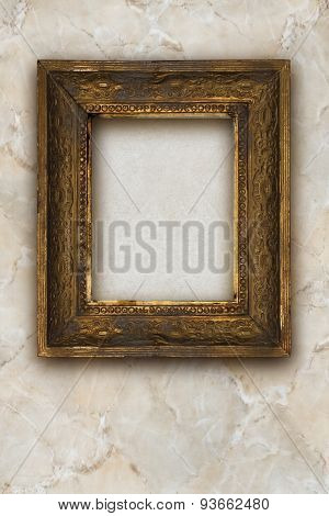 Classic Old Wooden Picture Frame Carved By Hand On Marble Background
