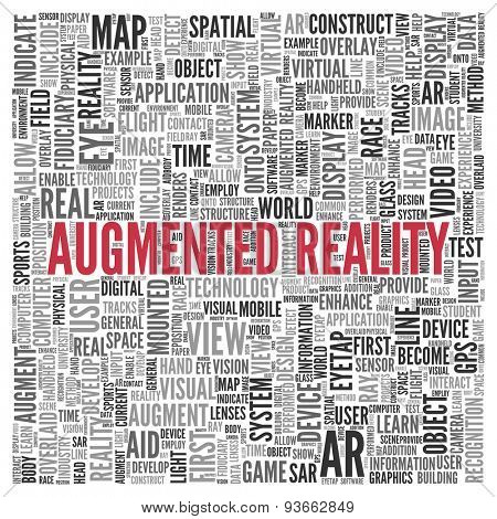 Close up AUGMENTED REALITY Text at the Center of Word Tag Cloud on White Background.