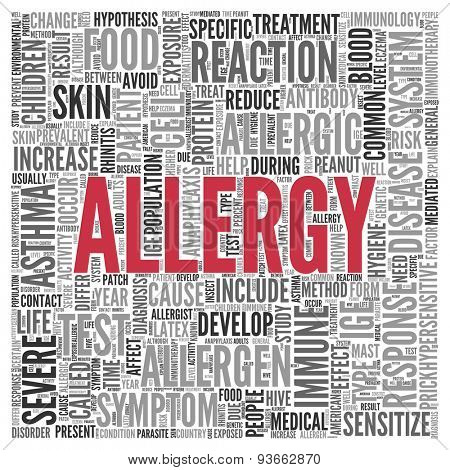 Close up ALLERGY Text at the Center of Word Tag Cloud on White Background.