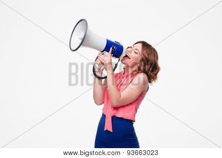 Happy woman shouting in megaphone isolated on a white background