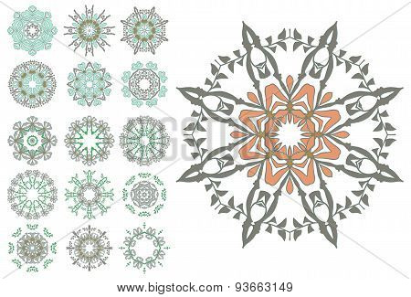 Set of abstract flower circles