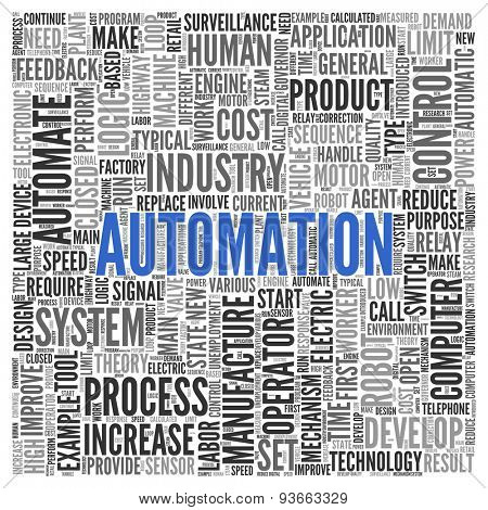 Close up AUTOMATION Text at the Center of Word Tag Cloud on White Background.