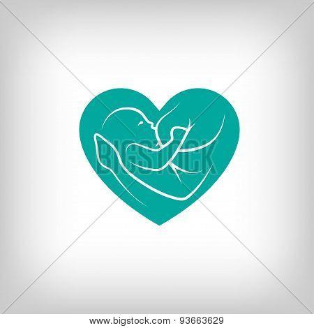 Breast feeding heart shaped sign.