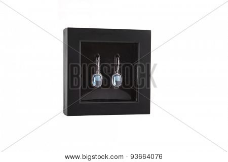 Pair of sapphire earrings in a gift box