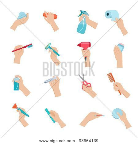 Hand holding objects icons set