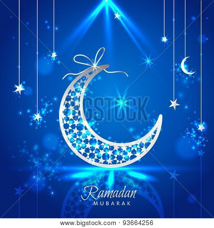 Ramadan Kareem Celebration Greeting Card Decorated With Moons And Stars