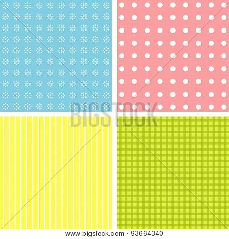 Set Of 4 Cute Background Patterns.