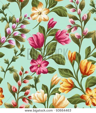 Seamless pattern with beautiful flowers in watercolor style