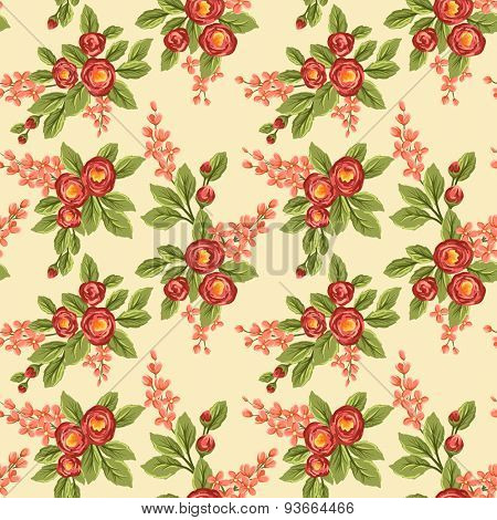 Seamless pattern with red flowers on beige background