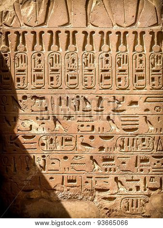 Hieroglyphics At The Karnak Temple In Luxor (egypt)