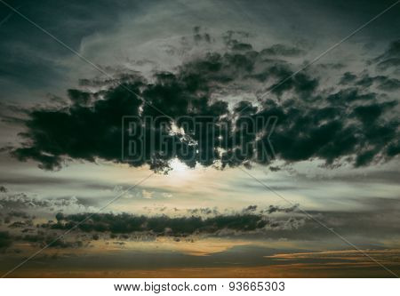 Fiery sunset sky. dramatic clouds
