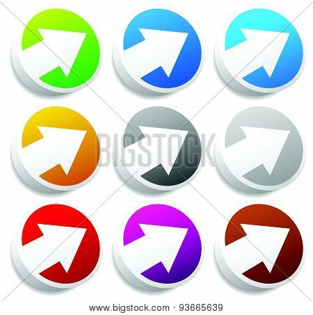 Diagonal Arrow Buttons, Icons. Arrows Pointing Right And Up With Set 9 Colors Including Blue, Teal (