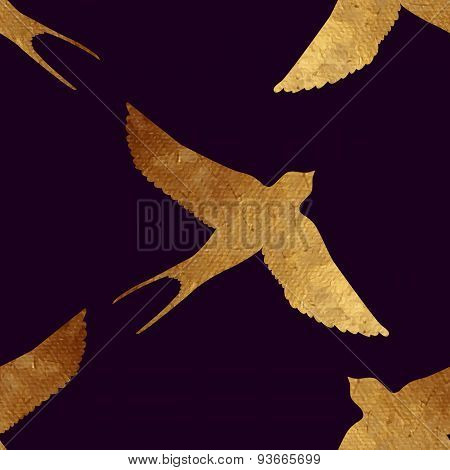 Seamless pattern with golden birds.