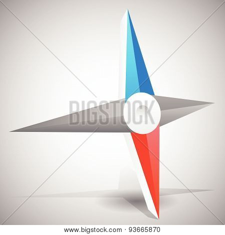Needles, Pointers Of A Compass. 3D Vector Graphic.