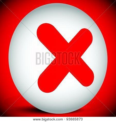 Red Cross Vector. Delete, Remove, Quit Icon.