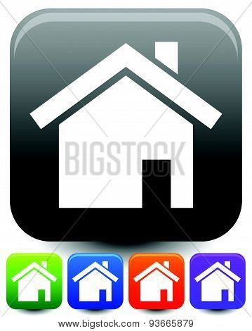House Symbols On Rounded Squares With Highlight Effect. Icons For Suburban Building, Homepage, Real