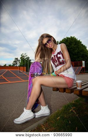 Pretty Girl With A Skateboard