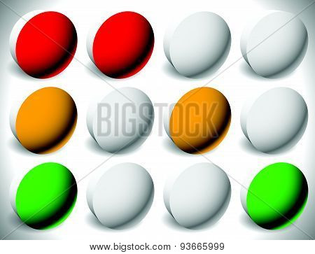 Set Of Traffic Lights, Traffic Lamps Or Control Lights.