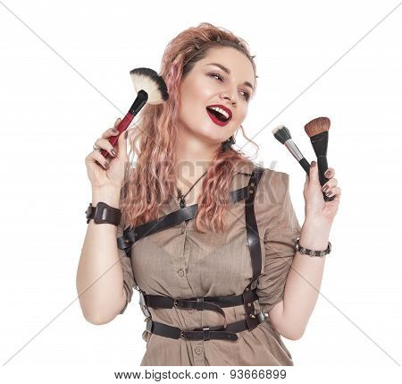 Makeup Artist With Brush Isolated