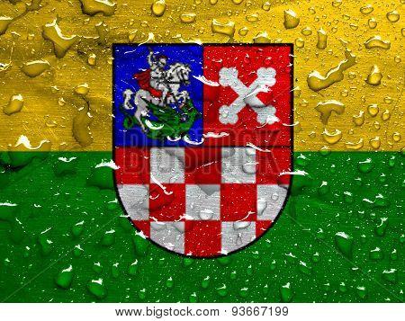 flag of Bjelovar-Bilogora County with rain drops