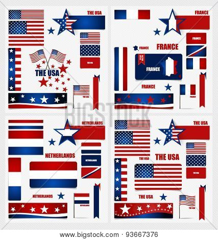 Collection of American Flags, France Flags, Netherlands Flags, Flags concept design. Vector illustration.
